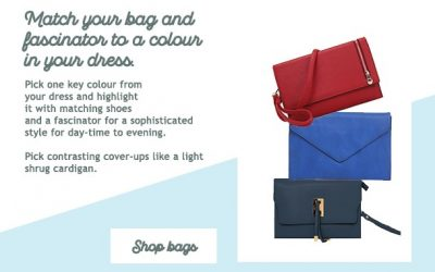 Match your bags ad fascinator to a colour in your dress